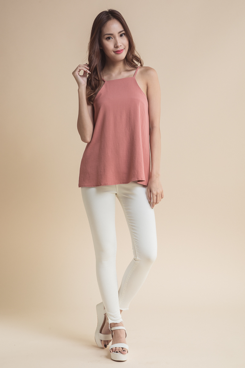377f8efb6377 Cut In Flare Top (Rose Pink)