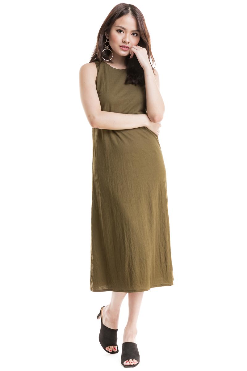 9349fbdae6b4 Side Slit Midi Dress (Olive)
