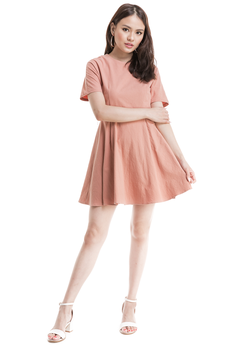 480e260cf669 Ring Belted Flare Dress (Dusty Pink)