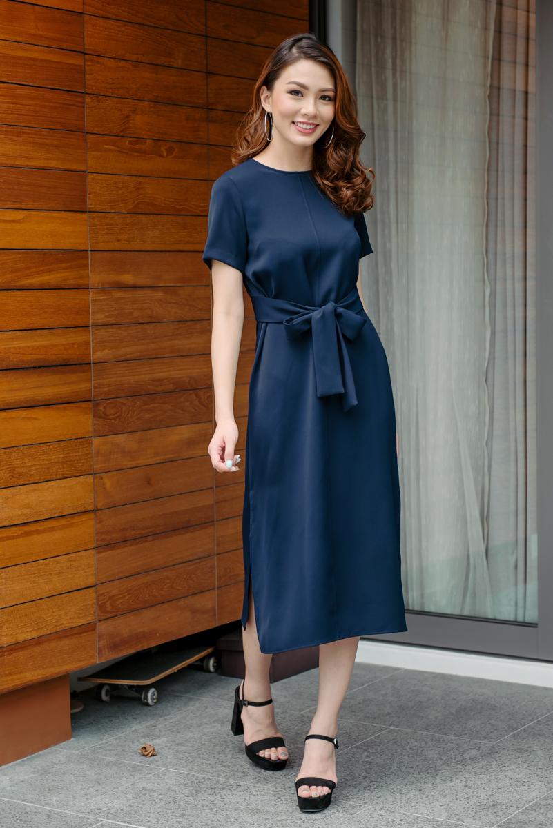 40e30caf6c04 Tie Front Maxi Dress (Navy)