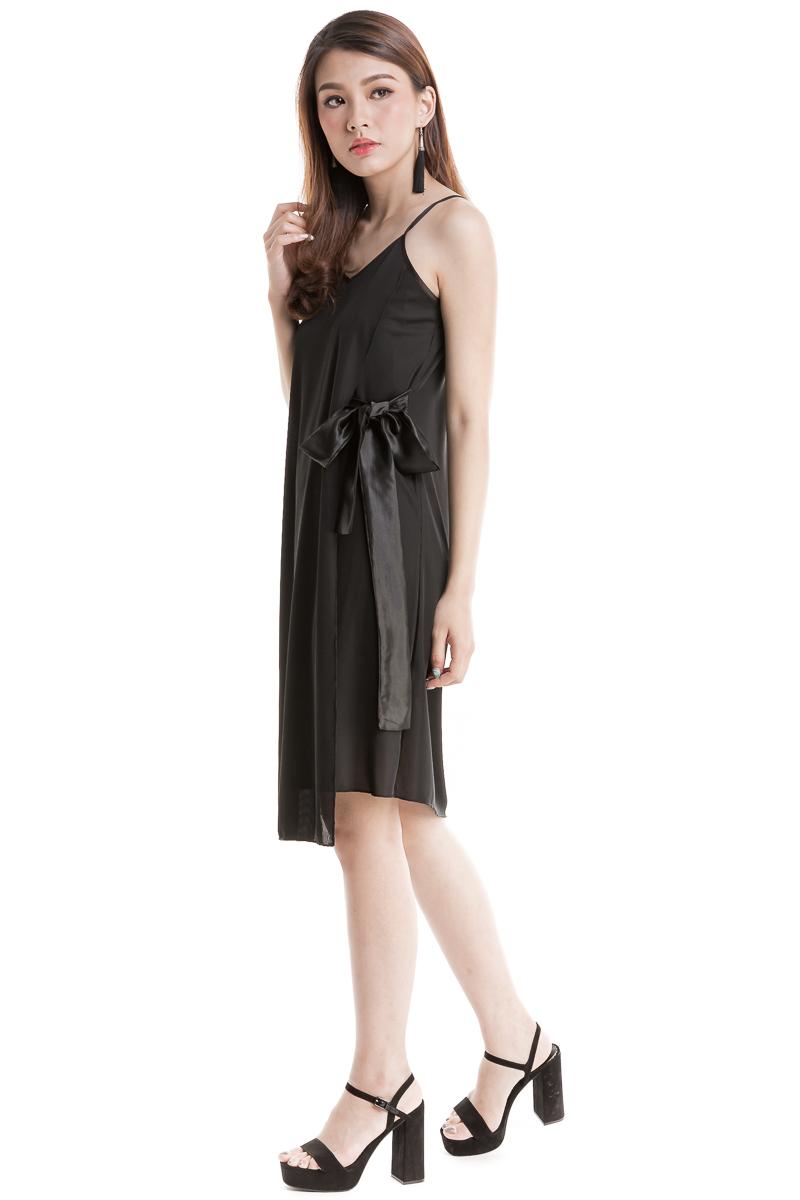 42883e33aaa3 Satin Ribbon Side Dress (Black)