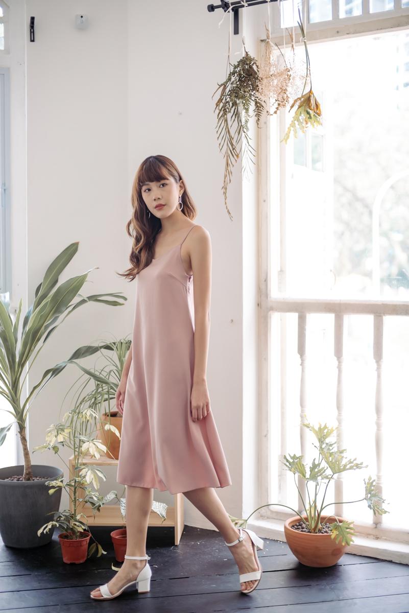3b38a6d26886 Flowy Spag Dress (Dusty Rose)