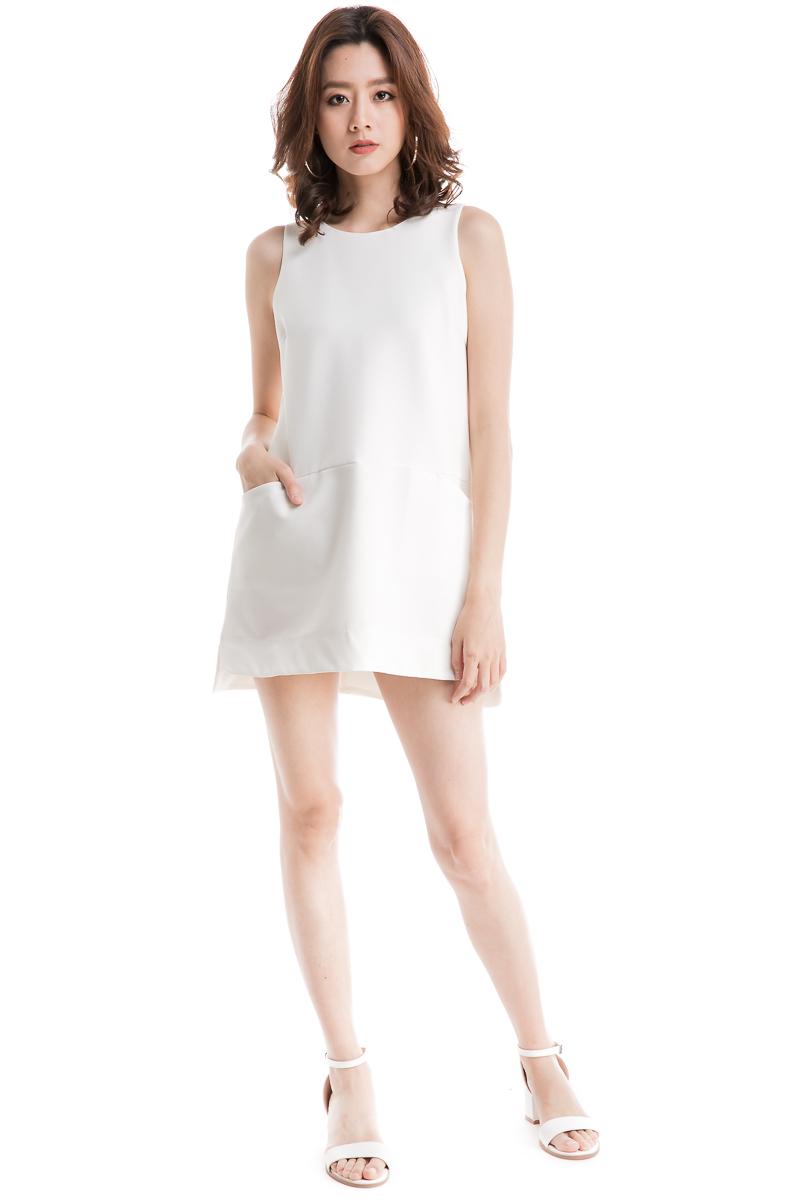 0568bbf82f3c Pocket Front Shift Dress (White)