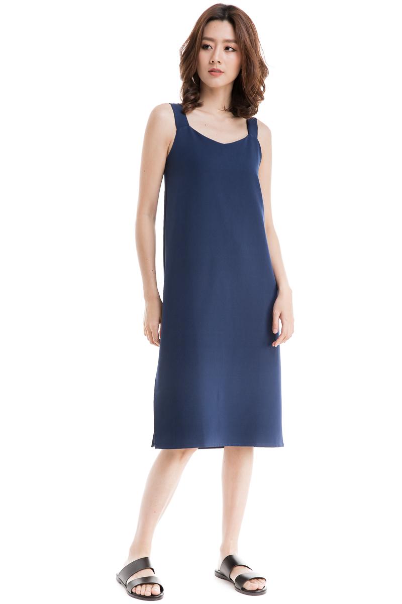 79100fc93be2 Side Slit Strap Dress (Navy)