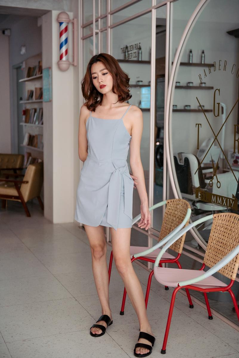 d4a6d1dcff10 Side Tie Romper Dress (Dove Grey)