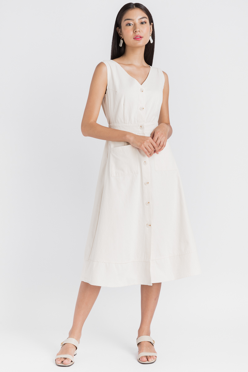 a2c69985ecbd Button Back Pocket Dress (Ivory)